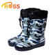 High Quality Camouflage Army Green Kids Rain Boot Drawstring Wool Lined Keep Warm Rubber Galoshes Military Boy Rain Boot Cheap