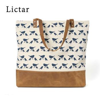 aca7572f7272 Contrast Color Cotton Canvas Zipper Tote Bag Leather Handle - Buy ...
