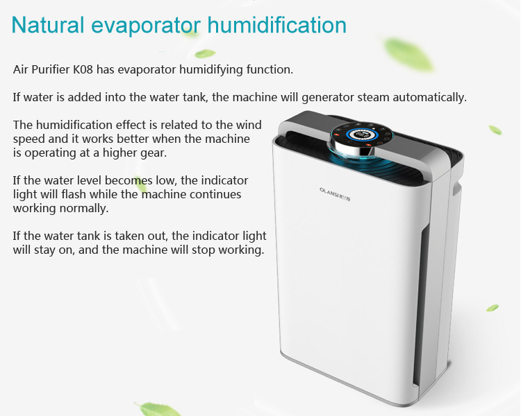 Home Air purifier humidifier Indoor air purifier with PM2.5 Smart air filter with WIFI HEPA filter particle sensor