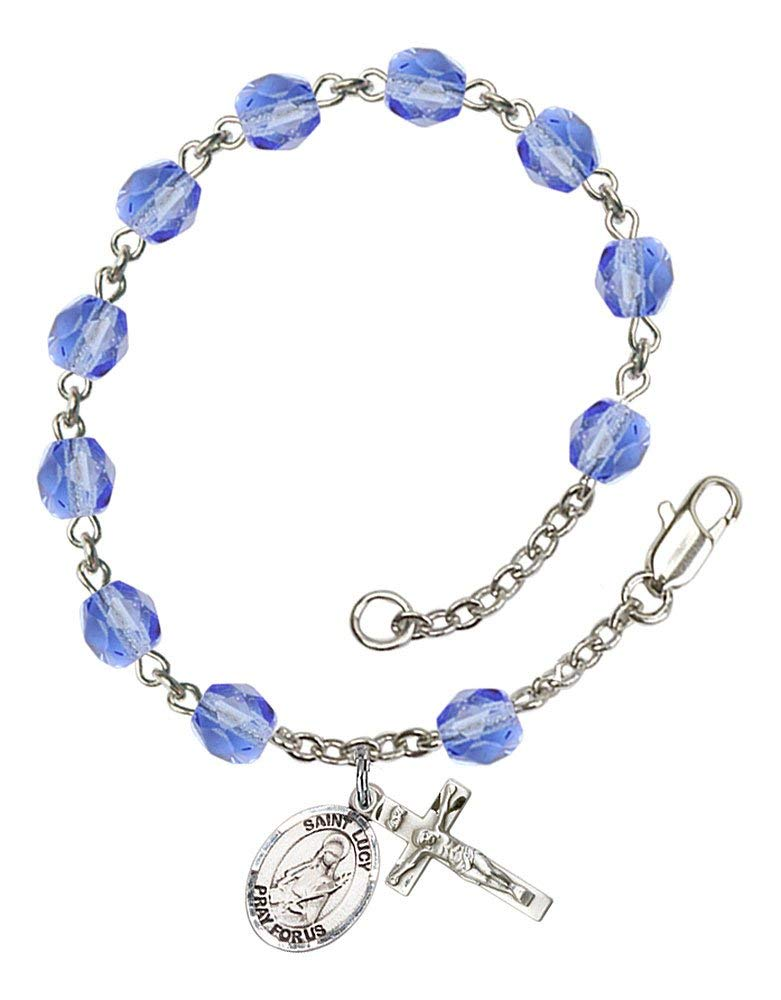 48b03b45818 Get Quotations · Silver Plate Rosary Bracelet features 6mm Sapphire Fire  Polished beads. The Crucifix measures 5/