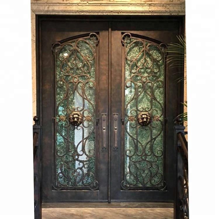 จีนผู้ผลิตโดยตรงขายเหล็กดัดประตูด้านหน้าด้านนอกการเข้าประตูโลหะ
