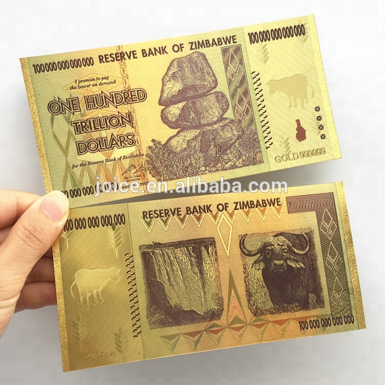 One Hundred Trillion Dollars Bill Gold Goil Money Collection Gifts Whole Zimbabwe 100 Dollar 24k Golden Foil Banknotes Engraved