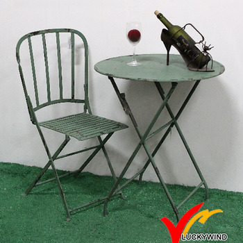 Rustic Round Folding Small Side Metal Outdoor Table