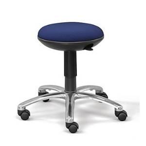 Memory Foam Fabric Stool (Jacquard 010 Navy Fabric Seat/Polished Aluminum Base/Black Cylinder)