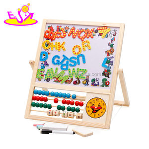 Educational double sides kids writing wooden education board with Magnetic letters W12B111