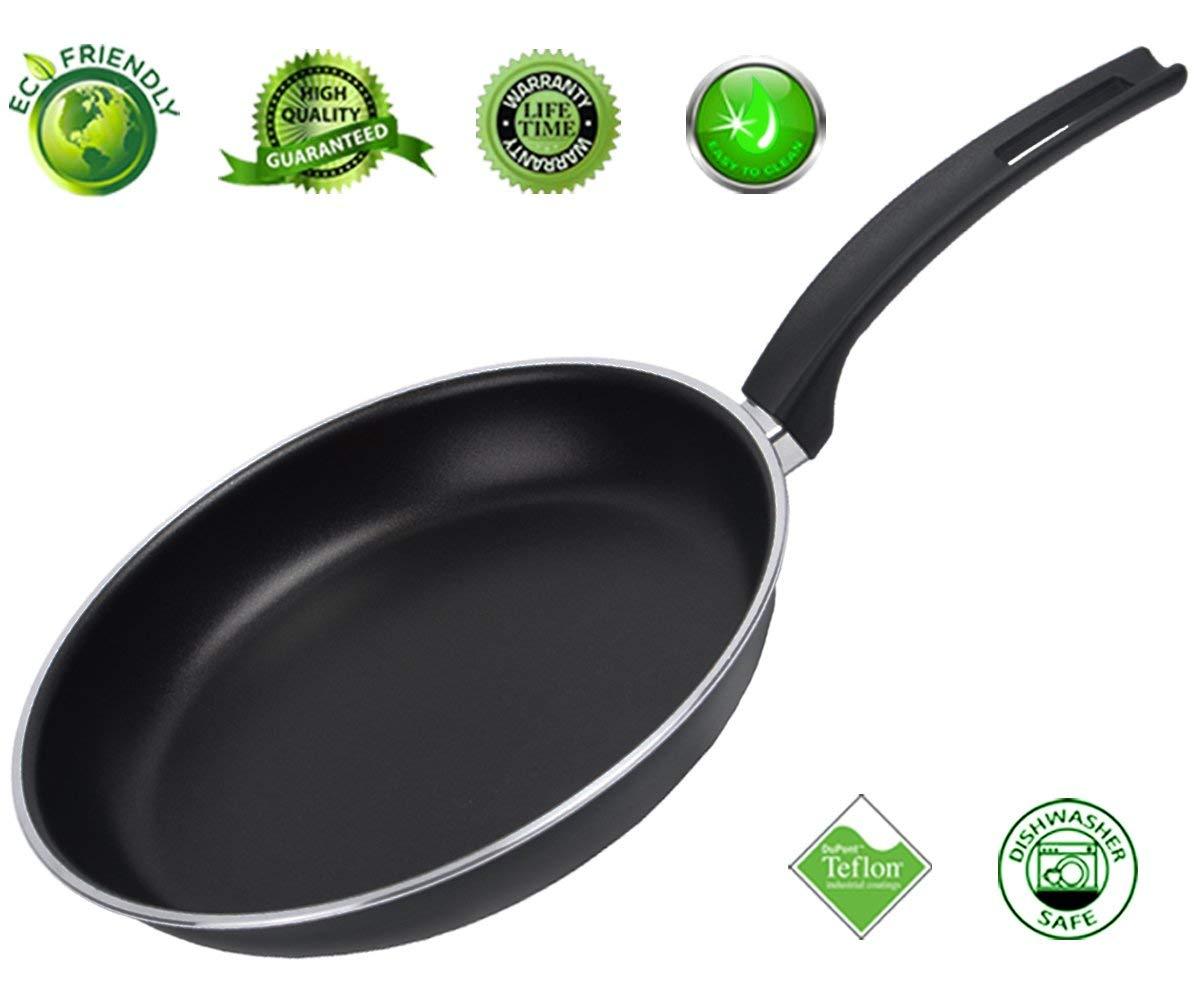 Frying Pan Nonstick Skillet Fry Pan Teflon Nonstick Coating Omelet Pans Cookware Aluminum Dishwasher Safe 11 Inch Black