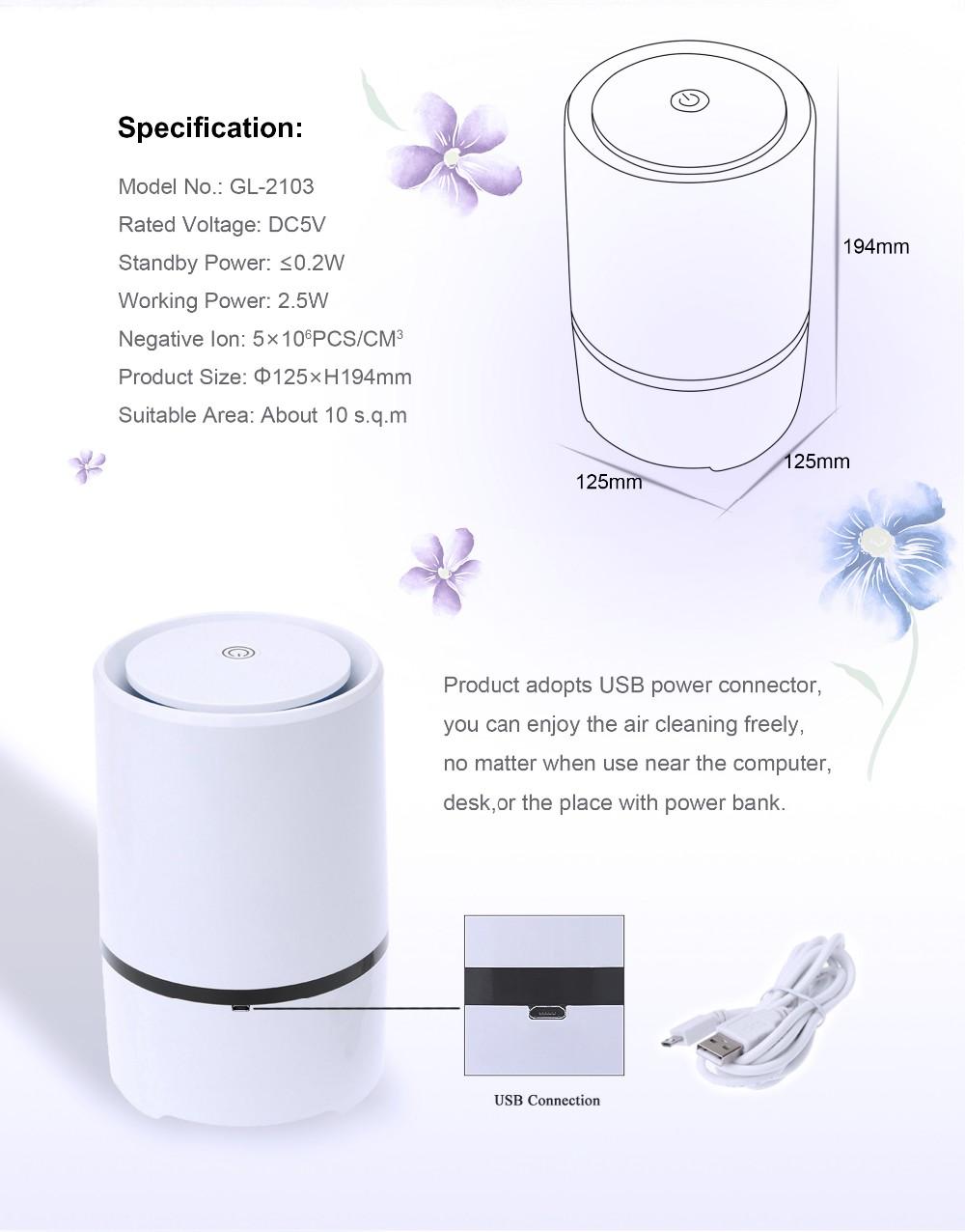 Usb Desk Air Purifier Hepa Filter Ionizer New Hepa Air Cleaner ...