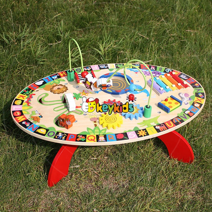 2017 Wholesale multi-function toys wooden toddler activity table funny play wooden toddler activity table W12D065