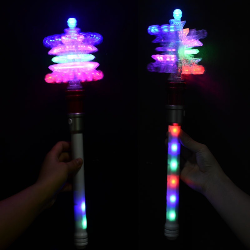 Christmas Gift Led Light Up Spinner Wand Snowflake Windmill/ Led Snowflake Wand Toy For Girls