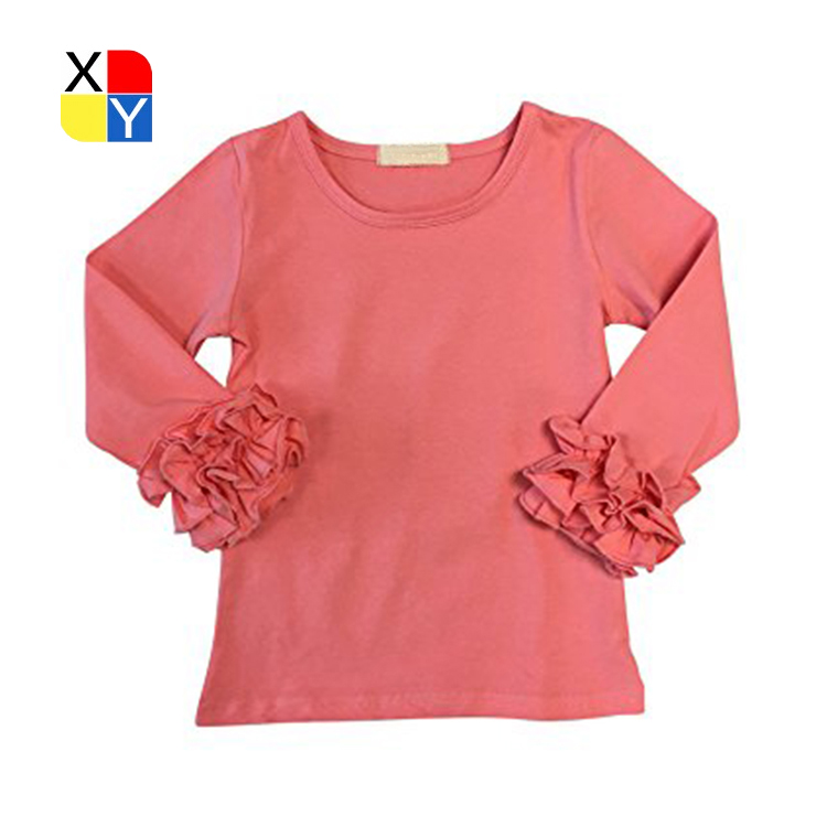 High quality kids girl knit ruffle shirt and pants formal shirt for girls