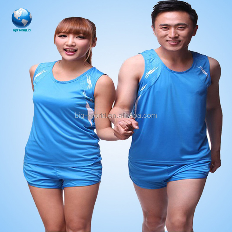 Men/women running uniforms custom logo color dye fully/Custom printing silk screen polyester running shirt /running singlet