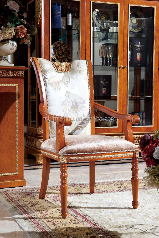 Yb62 luxe klassieke koninklijke barokke arm stoel franse stijl houten eetkamerstoel meubels - Luxe eetkamer ...