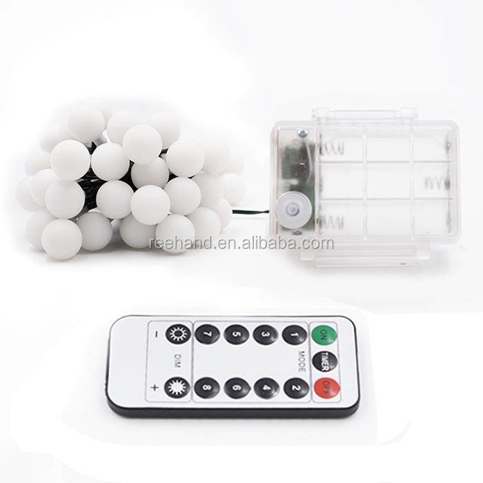 7M 50leds white ball LED String Lights 3AA Battery Powered Waterproof Box Remote Control Decoration Lamps for Holidays