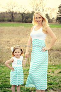 Mommy and Me matching Chevron Dresses,long Maxi dresses for Mother and Daughter
