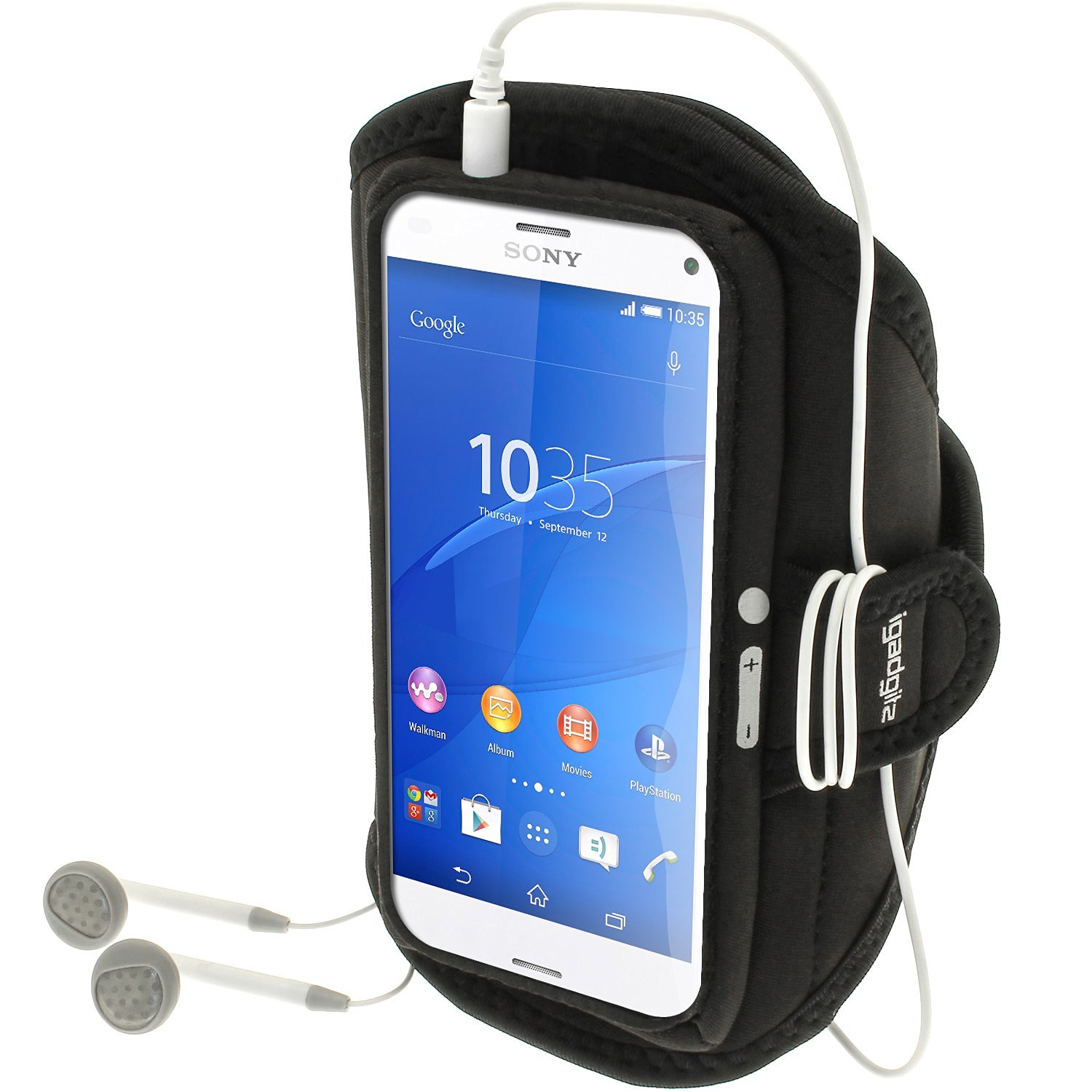Get Quotations · iGadgitz Water Resistant Black Sports Jogging Gym Armband for Sony Xperia Z3 pact D5803 D5833