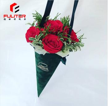 Unique velvet cone shaped paper flower cone box with handle buy unique velvet cone shaped paper flower cone box with handle mightylinksfo