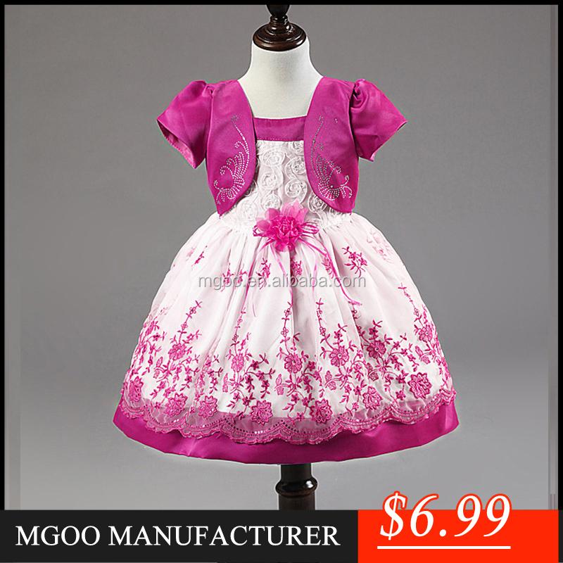 nueva chica de moda vestido de partido de los cabritos del desgaste de los nios vestido