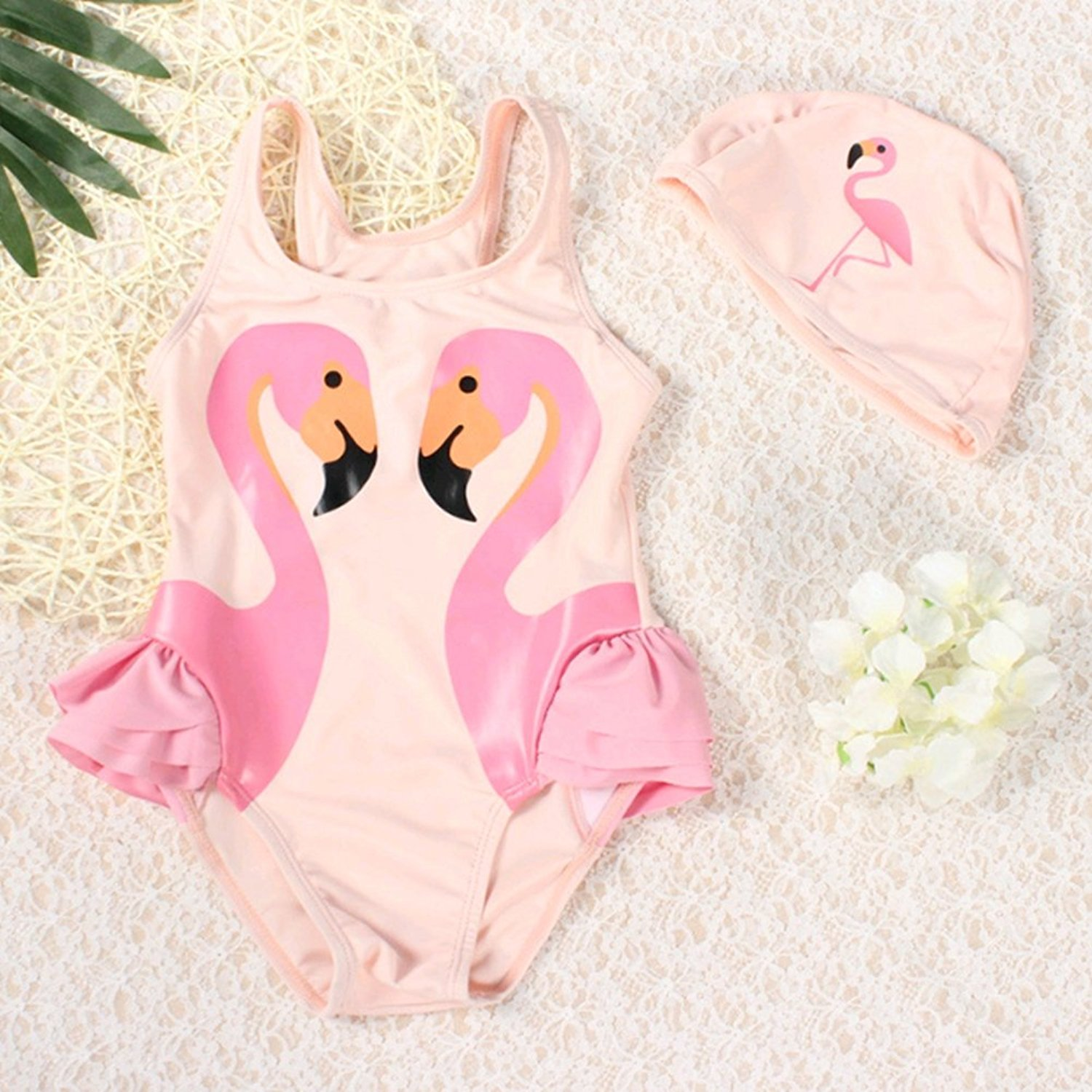 e8b493b6b2665 Get Quotations · BERTERI One-Piece Cute Pink Flamingos Swimsuits with  Swimming Cap Bathing Suits Swimwear Set for
