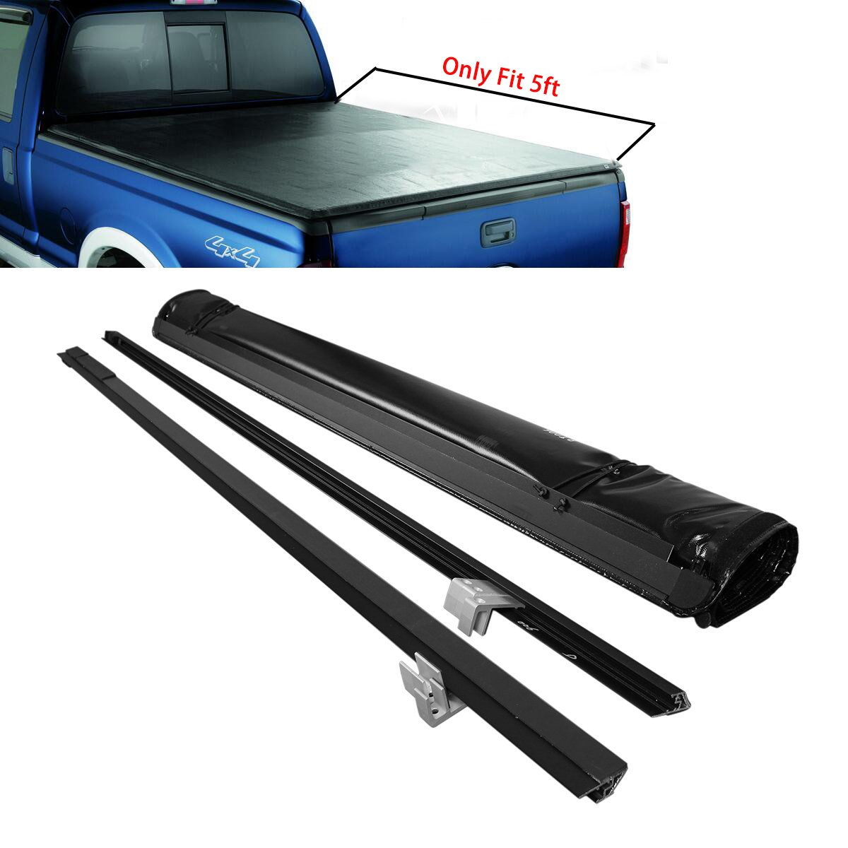 b39928a4257 Get Quotations · RAFTUDRIVE Soft Roll-Up Tonneau Cover Fit 2016-2017 Toyota  Tacoma 5ft Bed