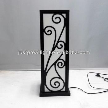 Laser Cut Square Floor Lamp With Fabric Shade And Wood Frame