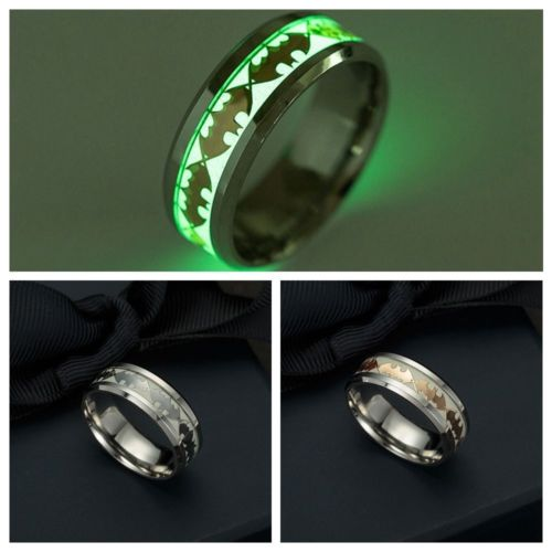 JZ101 Women Gifts Glow In The Dark Luminous Band Ring Stainless Steel Batman Punk