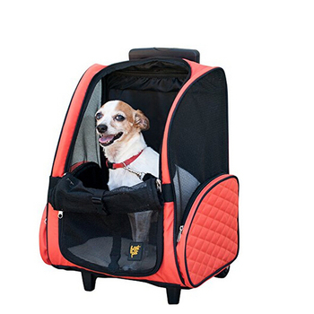 Red Microfiber Front Pet Rolling Pet Carrier Stroller 4 In