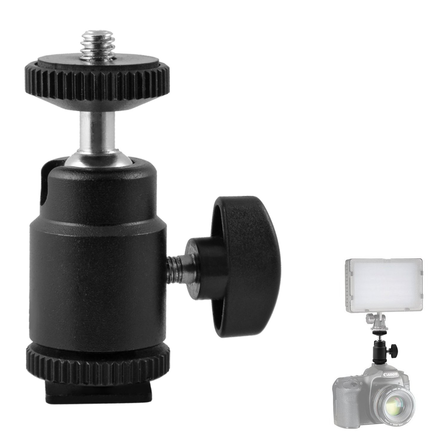 "pangshi Hot Shoe Adapter, Mini Ball Head 1/4"" Thread Hot Shoe Mount 360 Degree Compatible with Cameras, Camcorders, Smartphone, Gopro, LED Video Light, Microphone, Video Monitor"