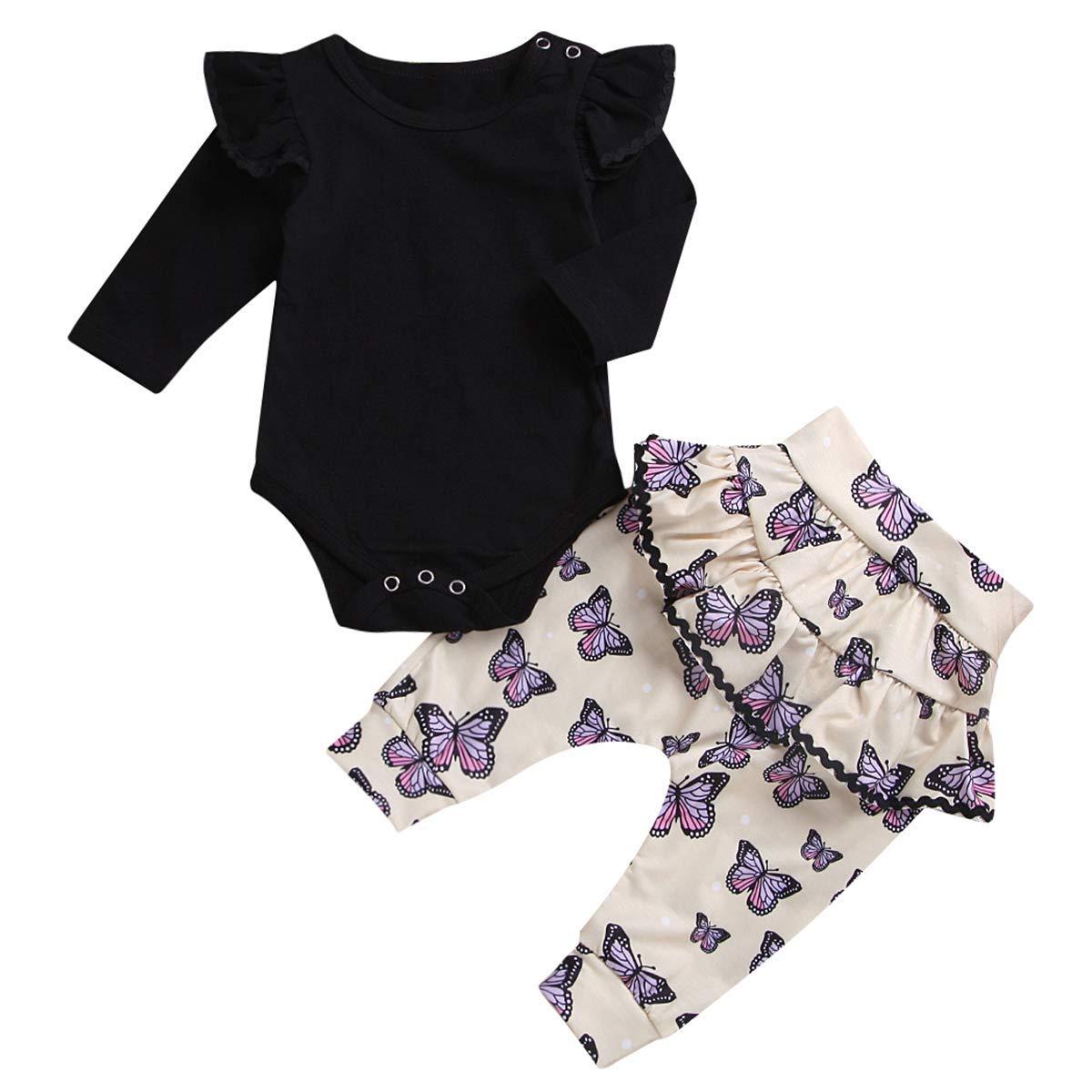 c6b18f148de Get Quotations · Baby Girl Set Cotton Long Sleeve Romper + Ruffle Butterfly  Print Pants 2pcs