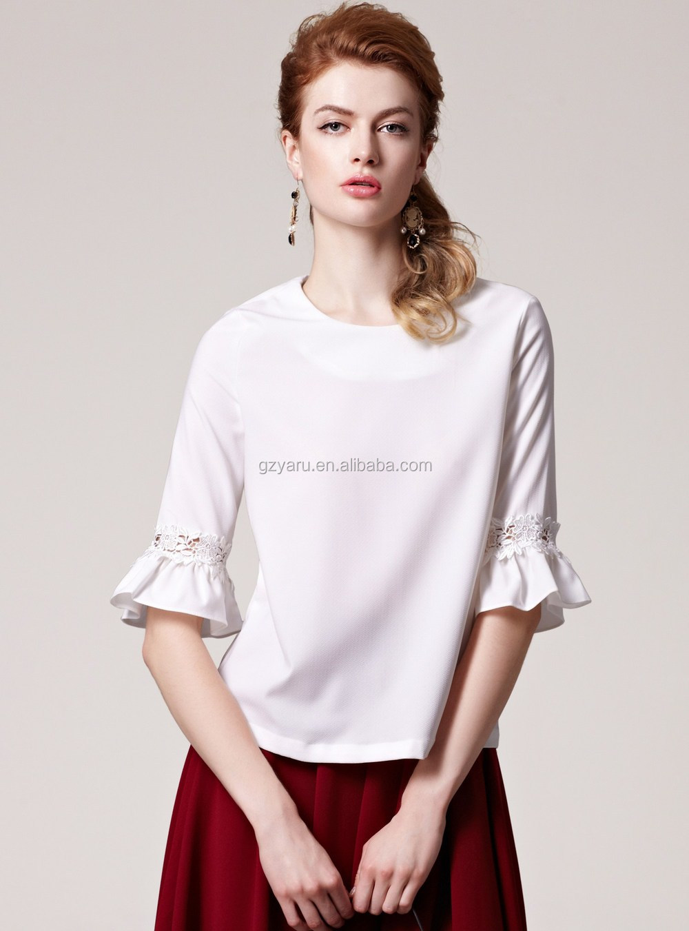 White Satin Blouses for Women