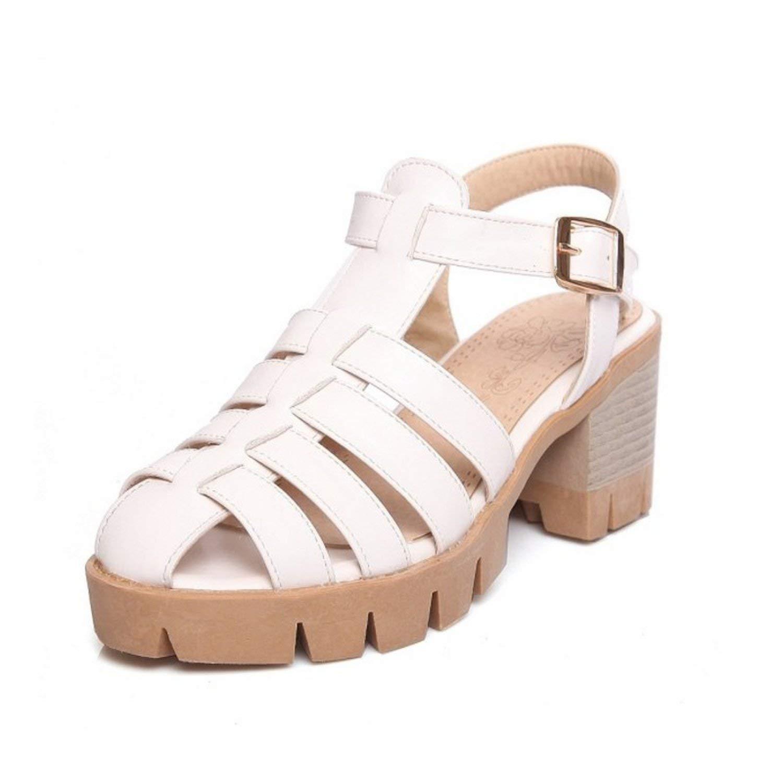 Nerefy Leisure Big Size 33-43 Platform Women Sandals Casual Square Heels Ankle Strap Gladiator Shoes