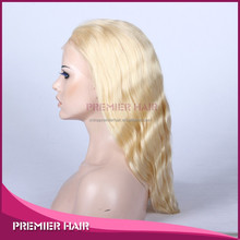 1 piece MOQ human hair wig, top quality blond wig natural full lace wig