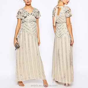 Anly Newest Design Apparel Linear Embellished Maxi Maternity Dress , High quality & Factory price
