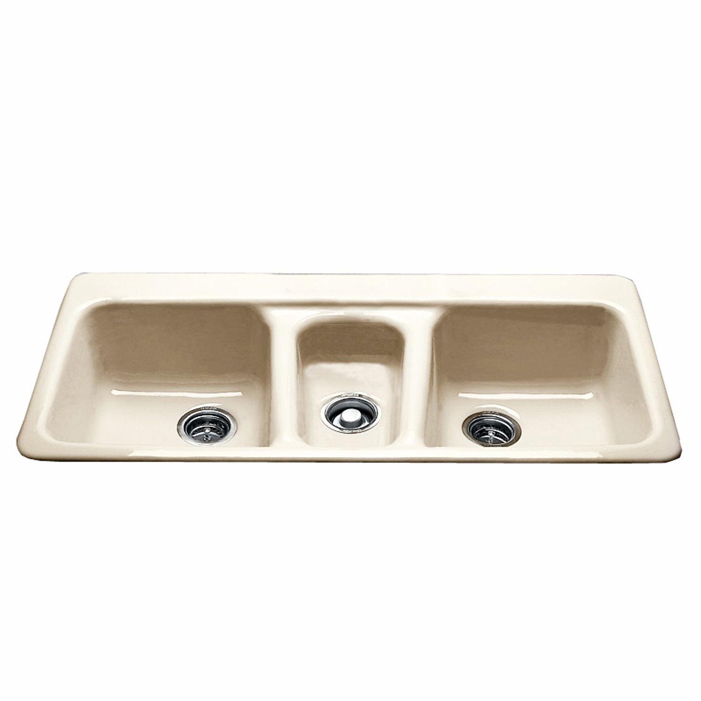 "CECO Sinks-Bolsa Chica 797-4-22 Self Rimming Kitchen Sink 43"" X 22"" Cast Iron Triple Basin Sink"