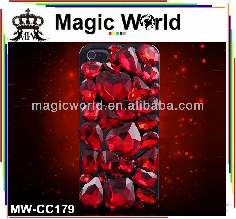 New 2014 luxury style heart shaped crystal jewelry mobile phone case