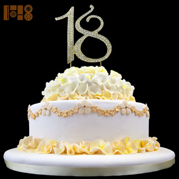 Astounding Shining Rhinestone Number 18 Birthday Cake Toppers For 18Th Personalised Birthday Cards Veneteletsinfo
