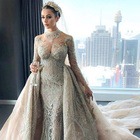 Guangzhou factory luxury crystal long sleeve wedding dress muslim mermaid wedding dresses with detachable skirt