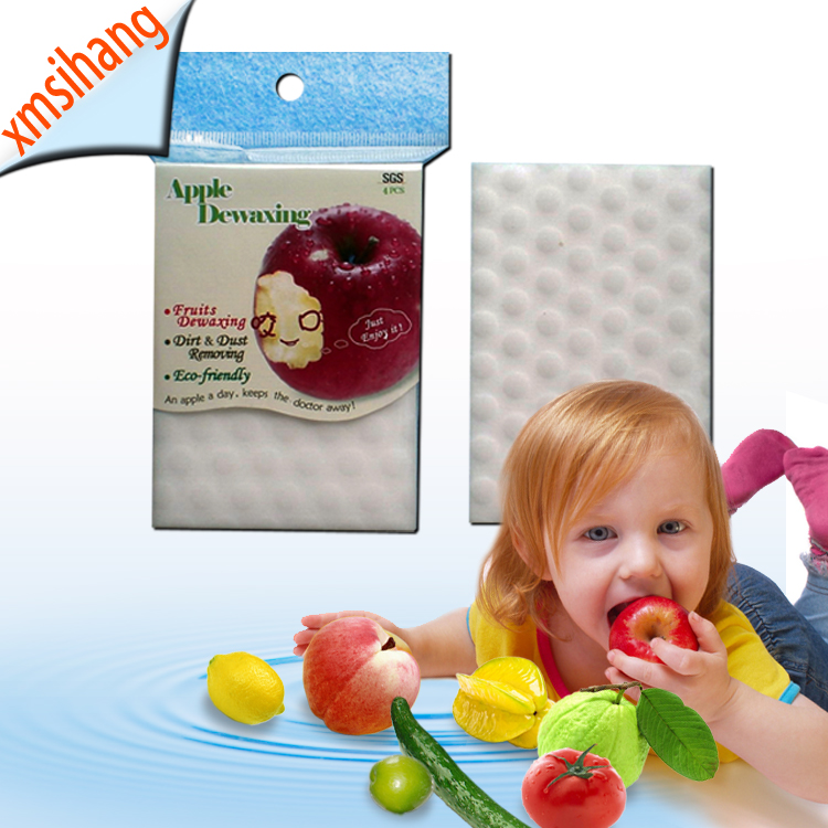 China novelties fruits and vegetables Apple Dewaxing Magic Sponge Foam