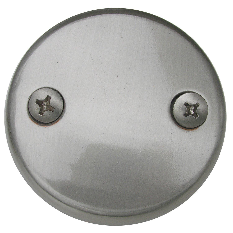 Simpatico 31597SN Bath Tub Overflow Plate with Screws of 2-Hole, Satin Nickel
