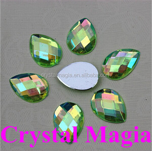 crystal ab teardrop flat back sew on acrylic rhinestone