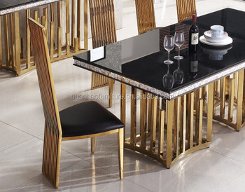 Dh 1454 Modern Royal Stainless Steel Leg Marble Dining Table Design For Banquet Hall Designs Wedding Halls