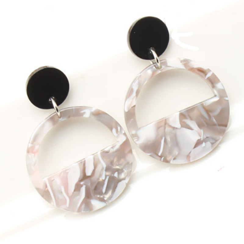 Popular stock Women Statement Jewelry Multi Geometric Circle Link Acrylic Drop Dangle Earrings er12448
