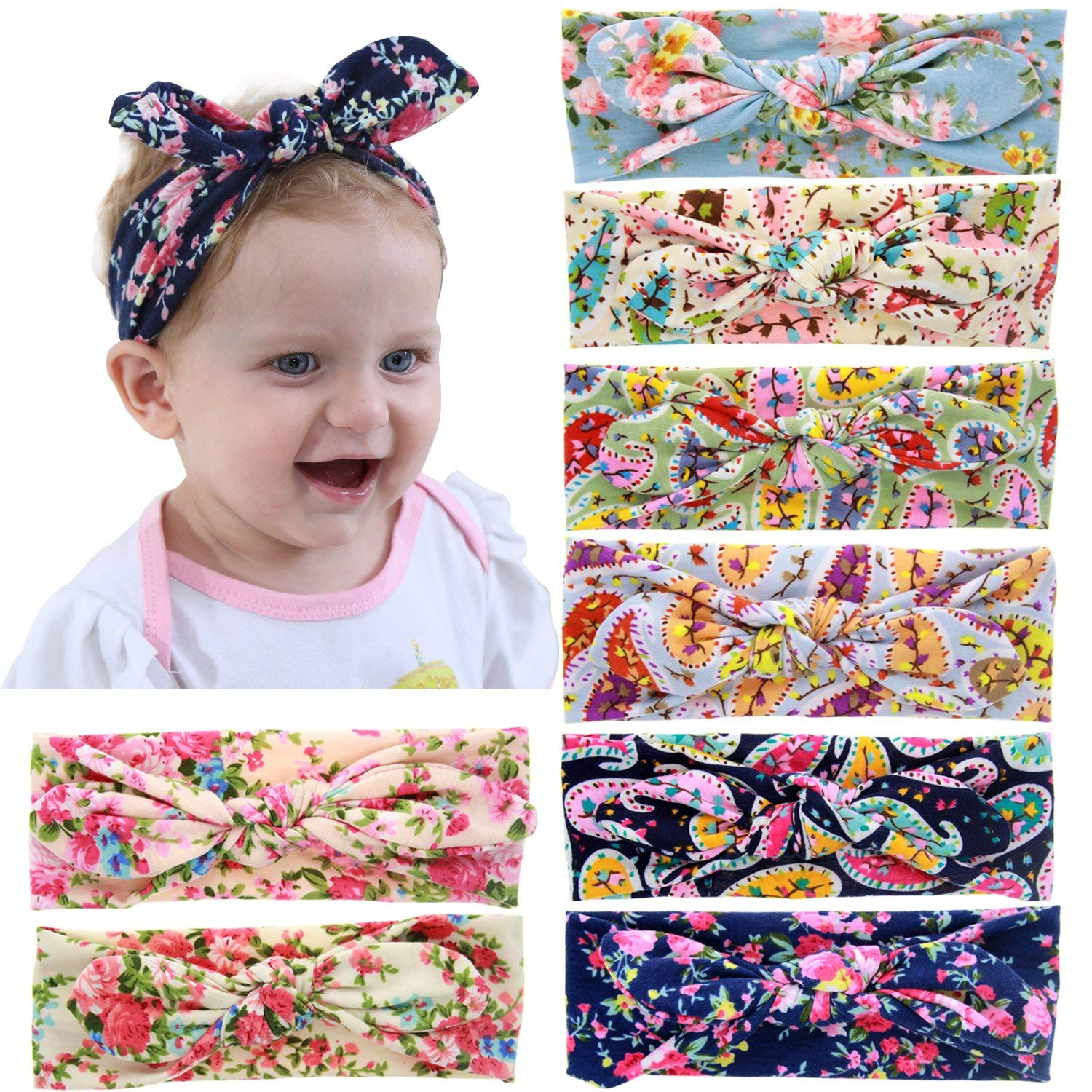 6a72b1363 Get Quotations · Baby Girl Headbands Turban Knotted Headwraps for Babies  Infants Toddlers Kids