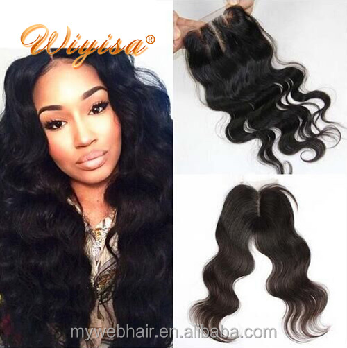 Hot selling natural color body wave 8A Grade virgin indian human hair with closure