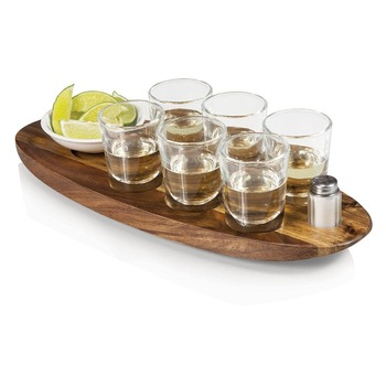 Cheap acacia wooden beer carrier for tea and coffee
