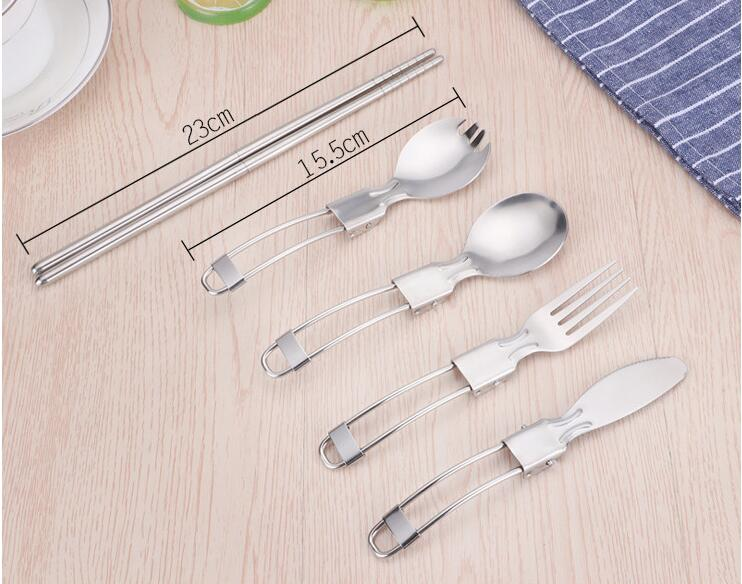 Outdoor Camping Folding Cutlery Knife Fork Spoon