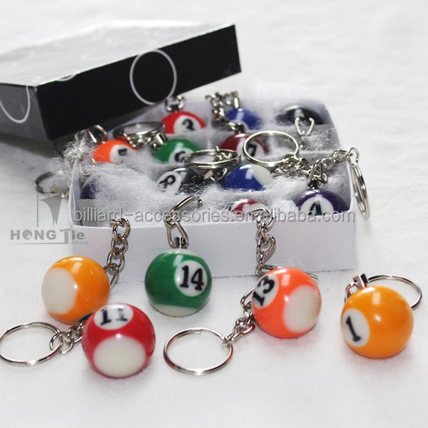 Fashion Design Key Chain Resin Billiards Ball Key Ring