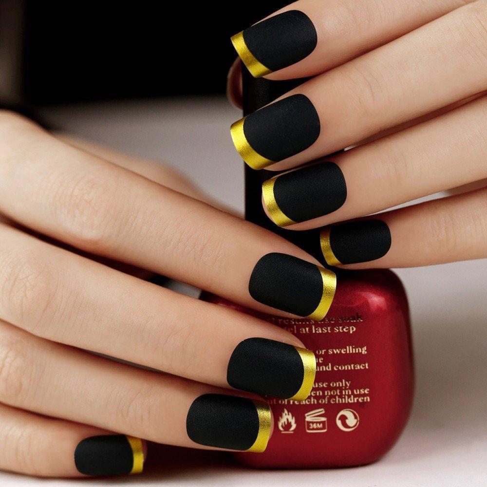 Buy ArtPlus 25pcs Matt Black Gold Tip False Nails French Manicure ...
