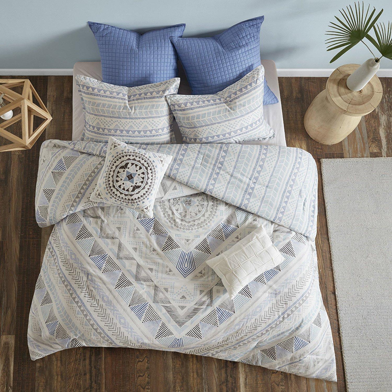 7 Piece Light Blue Grey Abstract Comforter King Cal King California Set, Sky Blue White Gray Aztec Striped Geometric Medallion Mandala Pattern, Reversible Stripe Adult Bedding Master Bedroom, Cotton