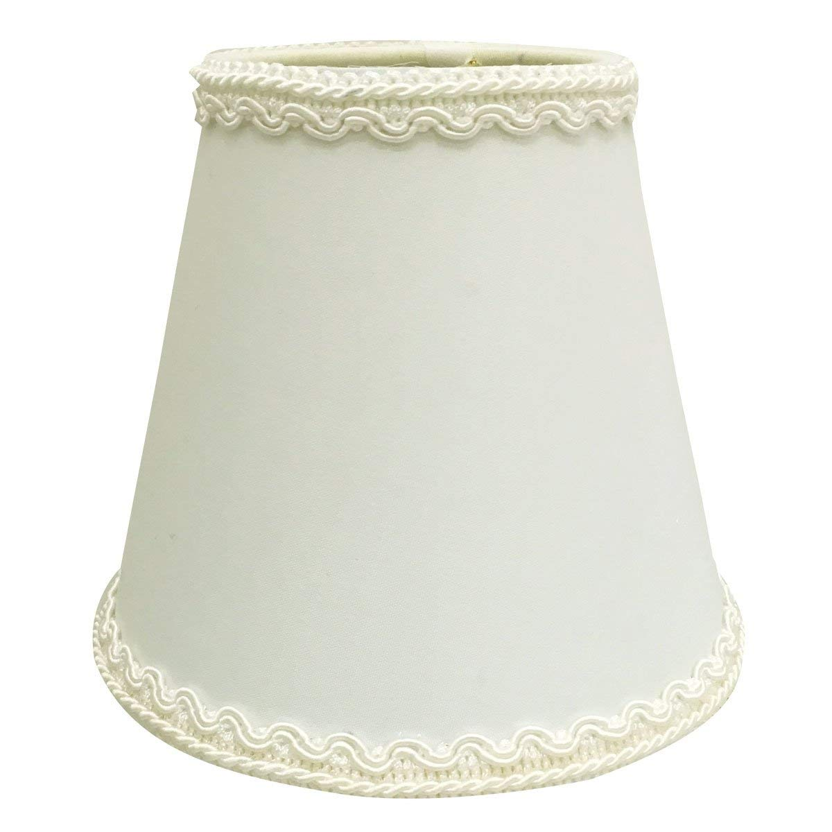 "Royal Designs, Inc CSO-1038-5WH Royal Designs Empire Chandelier Lamp Shade with Decorative Trim, 3"" x 5"" x 4.5"", Clip-on, White"