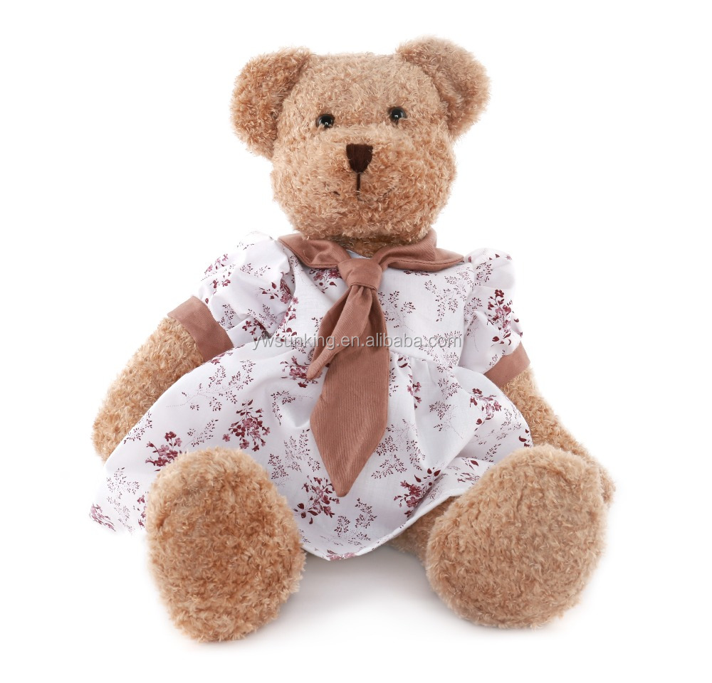 new coming lovers teddy bear with 100%cotton clothes Valentine's Day gift soft plush toys